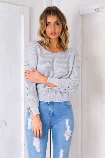 Long Sleeves V-neck Straps Pure Color Sweater