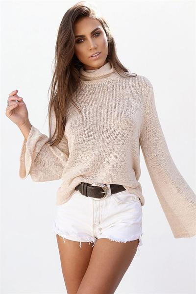 Pure Color Long Sleeves High Neck Back Straps Sweater
