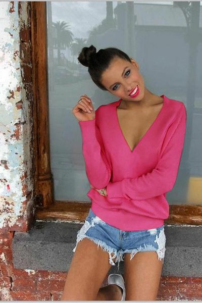 Candy Color Long Sleeves Deep V-neck Regular Sweater