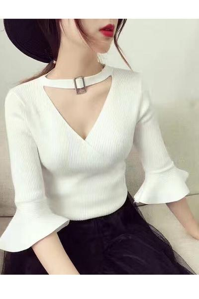 Pure Color Cut Out Half Trumpet Sleeves V-neck Regular Sweater