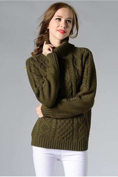 Long Sleeves Pure Color High Neck Diamond Sweater