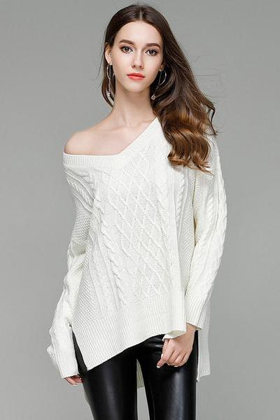 V-neck Split Irregular Cable Loose Sweater