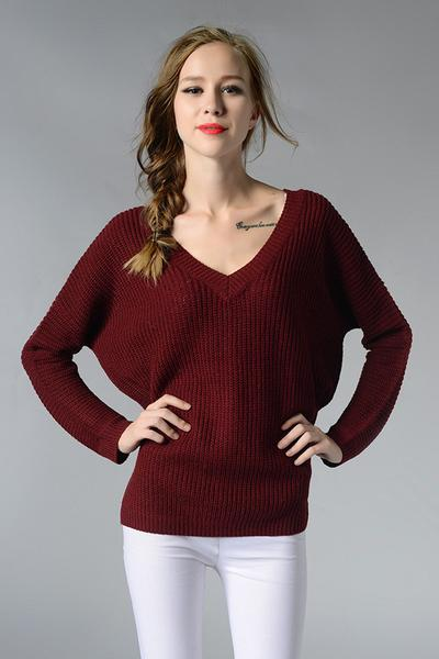 V-neck Pure Color Long Sleeves Loose Knit Pullover Sweater