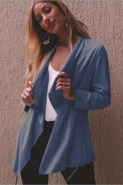 Ruffles Lapel Candy Color Long Sleeves Open Cardigan