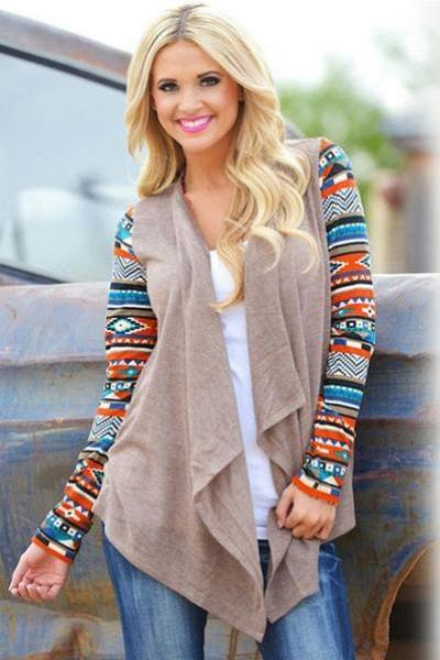 Retro Styles Print Lapel Irregular Loose Cardigan