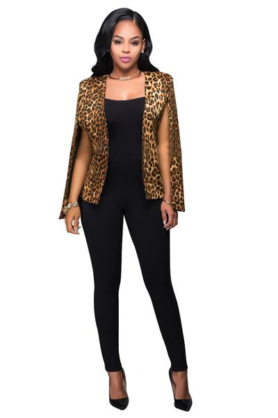 Leopard Cape Sleeveless Short Blazer