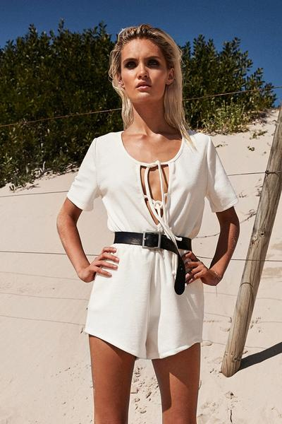 Pure Color Straps Loose T-shirt with Shorts Two Pieces Set