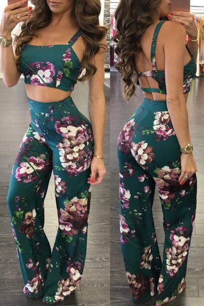 Flower Print Backless T-shirt with Wide-Legs Pants Two Pieces Set