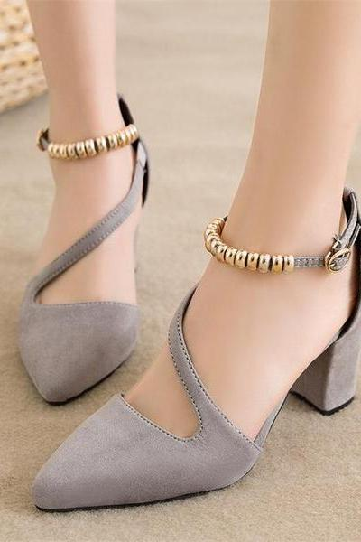 Suede Chunky Heel Piontrd Toe Beadings Ankle Strap Sandals