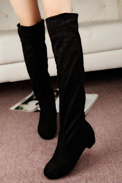 Faux Suede Rounded-Toe Knee High Boots