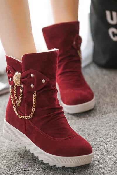 British Thick Round Toe Chain Decorate Short Boots