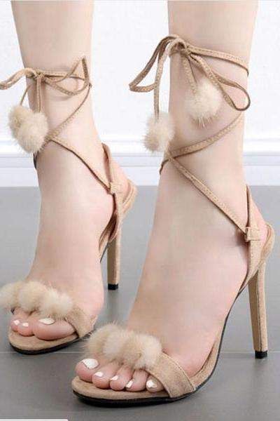 Suede Peep-toe Ankle Lace Up Stiletto Heel Fur Decorated Sandals
