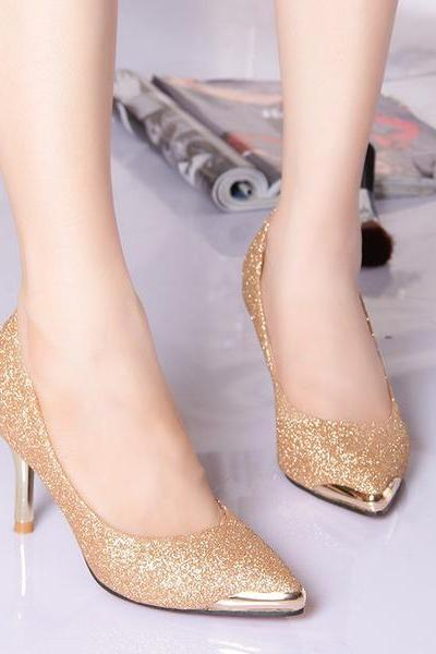 Shinning Rihestone Stiletto Heel Pointed Toe High Heels Shoes