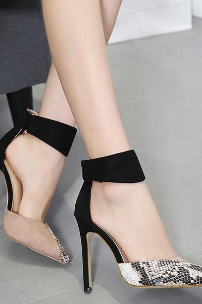 Pointed-Toe Croc-Embossed Ankle Strap Stilettos, High Heels