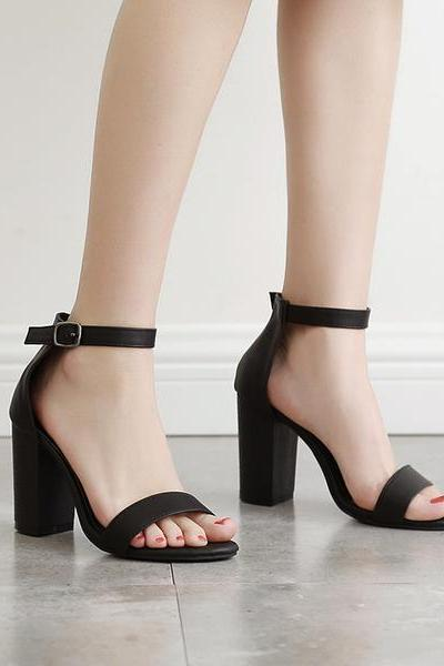 Faux Leather Ankle Strap Block Heel Sandals