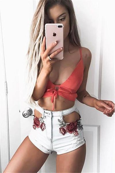 Flower Print High Waist Cut Out Hole Slim Shorts