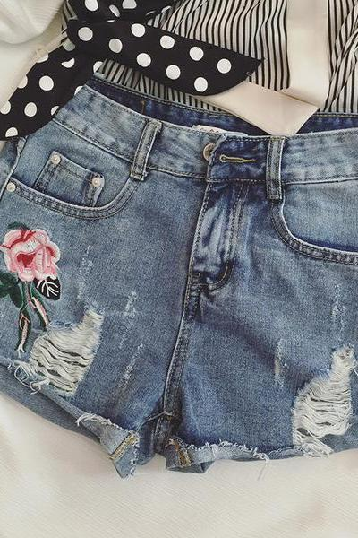 Denim High Waist Print Flower Cut Out Slim Shorts