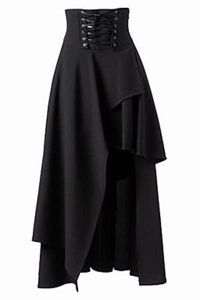 Gothic Lolita Pure Color High Waist Irregular Straps Long Skirt
