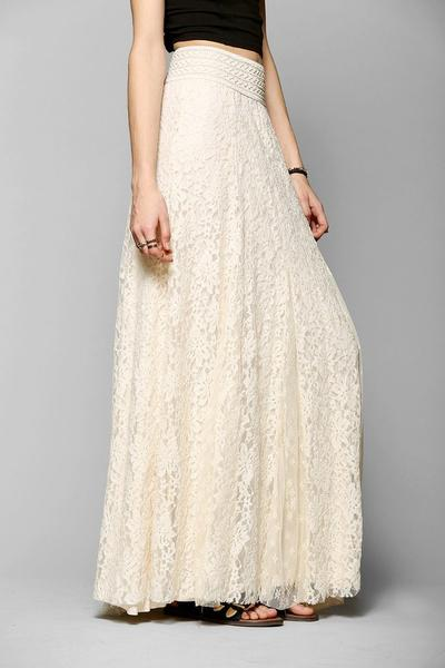 High Waist Hollow Out Lace Long Skirt