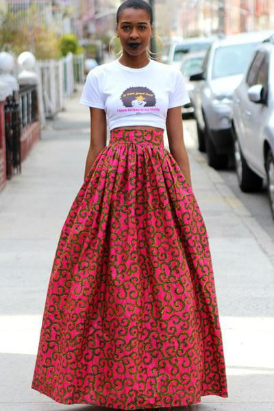 Retro Print Big Swing Loose Long Skirt