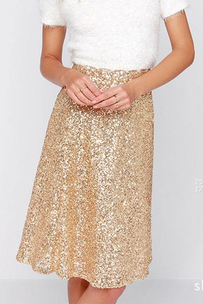 Pure Color Golden Sequins Slim Short Skirt