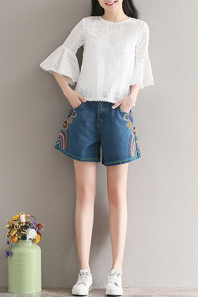 Print Pure Color Retro Denim Plus Size Loose Shorts