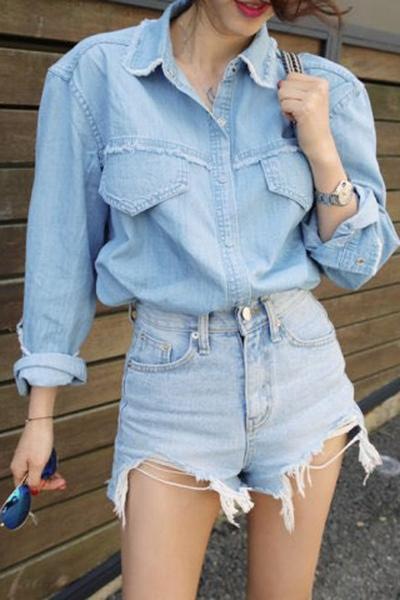 High Waist Irregular Hole Tassel Denim Shorts