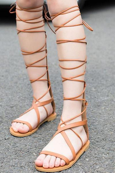 Reman Style Straps Cross Knee-length Flat Sandals