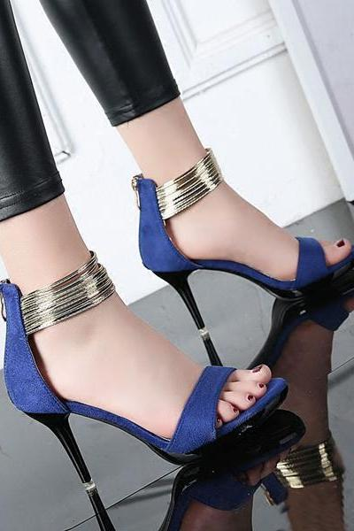 Stiletto High Heels Ankle Wraps Solid Color Heel Sandals