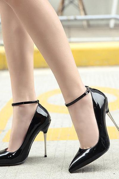 Patent Leather Pointed Toe Ankle Straps High Heels