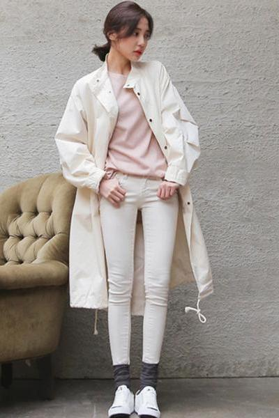 Pure Color Retro Buttons Loose Long Coat