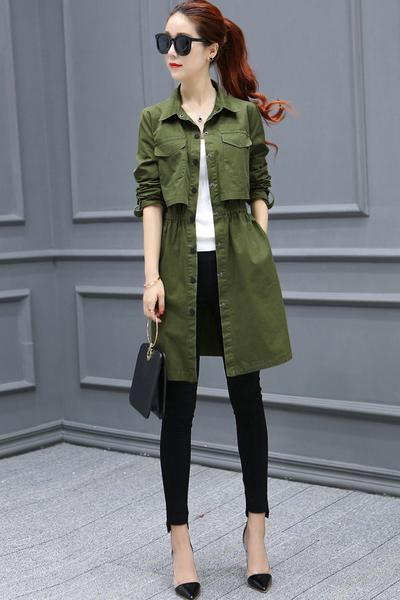 Stand Collar Button Pockets Decorate Slim Long Coat