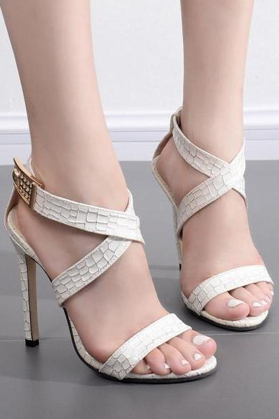 Open Toe Straps Cross Ankle Wraps Stiletto High Heels Party Shoes Sandals