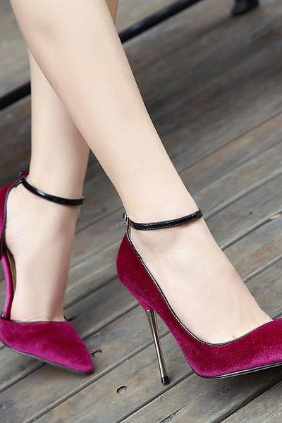 Velvet Pointed-Toe Ankle Strap High Heel Stiletto