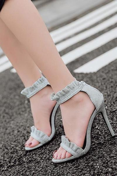 Open-Toe Ruffle Frill Ankle Strap Stilettos, High Heels