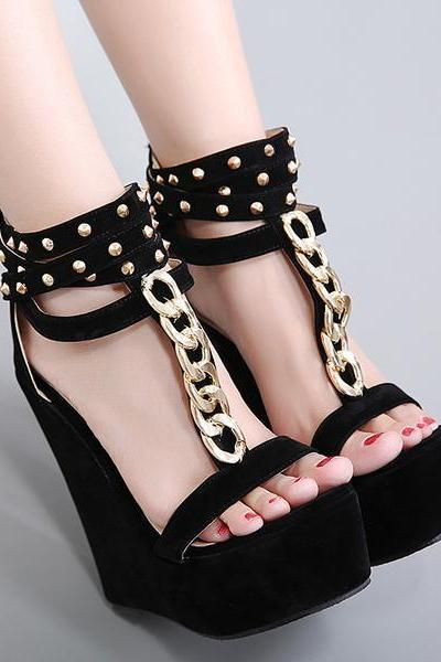 Platform Ankle Wraps High Wedge Heels Sandals