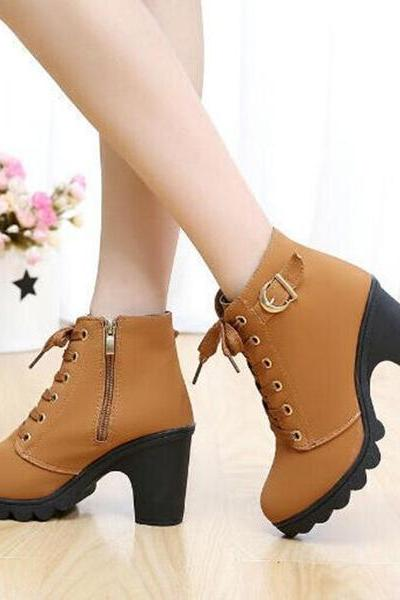 Platform Lace Up Chunky Heel Side Zipper Short Boots
