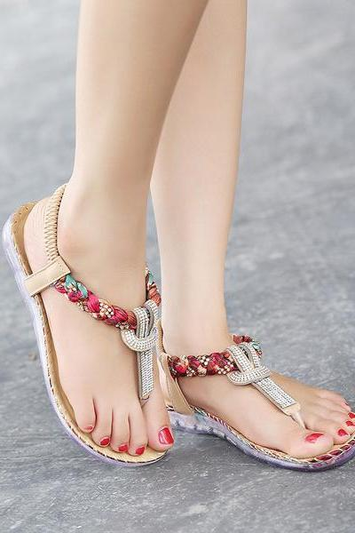 Shinning Crystal Retro Slip-on Flat Sandals