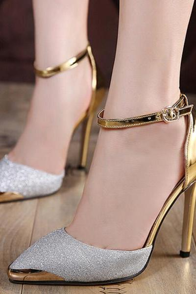 Charming Pointed Toe Ankle Wraps Stiletto High Heels Party Shoes