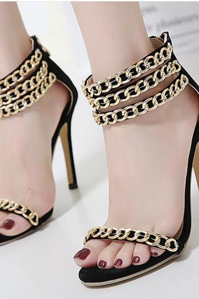 Metal Chain Decorate Open Toe Ankle Wrap Stiletto High Heels Sandals