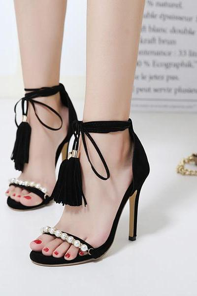 Faux Suede Pearl Embellished Open-Toe Lace-Up High Heel Sandals Featuring Tassel Detailing