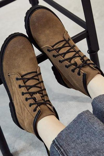 Round Toe Lace Up British Martin Flat Short Boots