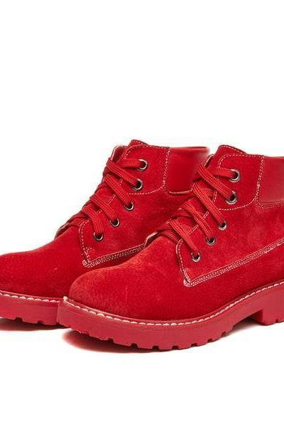 Candy Color Round Toe British Punk Short Flat Martin Boots