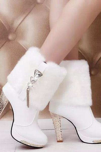 Rhinestone Chain Decorate Faux Fur Pointed Toe Stiletto High Heels Half Boots