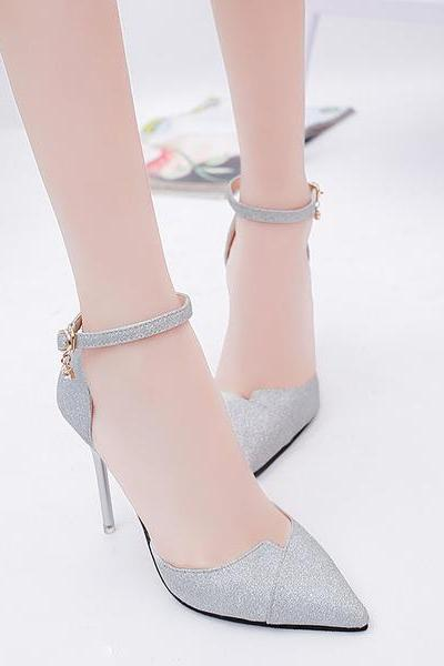 Shinning Pointed Toe Ankle Wrap Stiletto High Heels Party Shoes