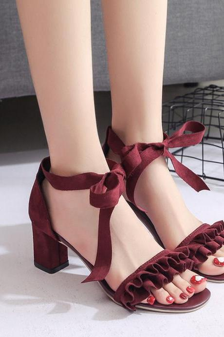 Ruffles Open Toe Ankle Wraps Chunky Heels Sandals