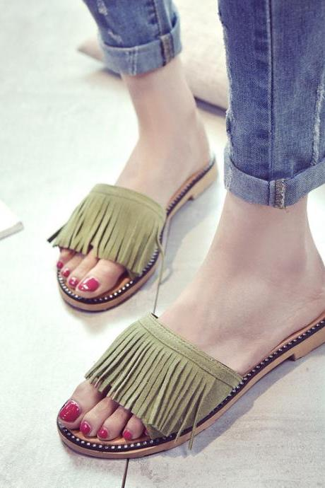 Faux Suede Tassel Open-Toe Slide Sandals Featuring Rhinestone Welt