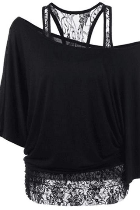 One Shoulder Batwing Sleeves Blouse with Lace Tank Top