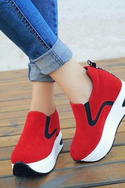 Platform Round Toe Patchwork Casual Sports Shoes Sneakers