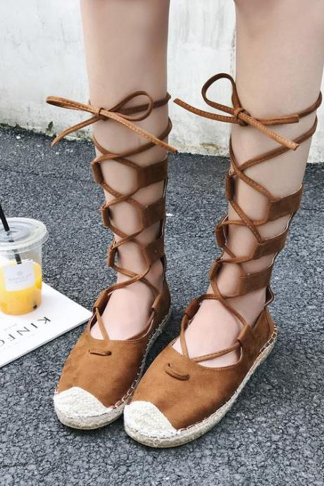 Round Top Lace Up Flat Short Boot Flats